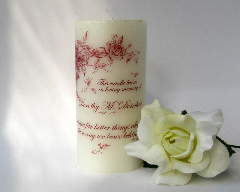 Mariage - Rose Memorial Candle, Sympathy Candle, Remembrance Gifts, Wedding Memorial Table, Sympathy Gift Mother, Personalized Candles, Memory Candle