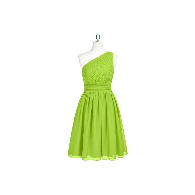 Wedding - Lime_green Azazie Katrina - Bow/Tie Back One Shoulder Knee Length Chiffon Dress - Charming Bridesmaids Store