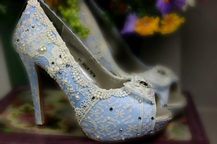 8048ad77eb7 Something Blue Wedding Heels . Blue Lacy High Heels . Bridal Shoes ...