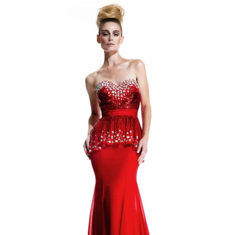 زفاف - Red Strapless Peplum Gown by Johnathan Kayne by Joshua Mckinley - Color Your Classy Wardrobe