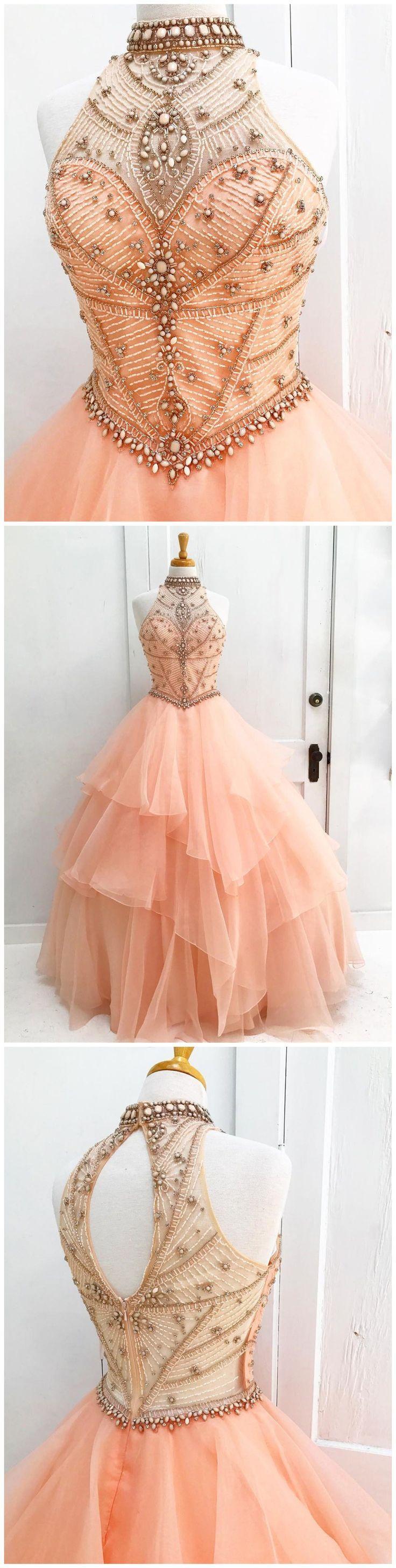 Wedding - Chic A-line High Neck Pearl Pink Beading Modest Long Prom Dress Evening Dress AM551