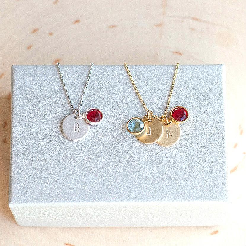 Hochzeit - Birthstone Gold Silver Charm Personalized Necklace Wedding Women Dainty Birthday kids name mom grandma Jewelry gift for Women /331