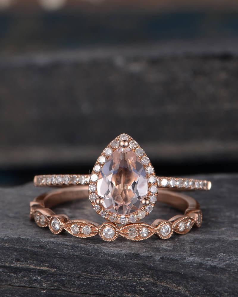 Hochzeit - Morganite Engagement Ring Rose Gold Bridal Set Pear Shaped Ring Bridal Halo Diamond Half Eternity Band Women Tear Drop Ring Anniversary