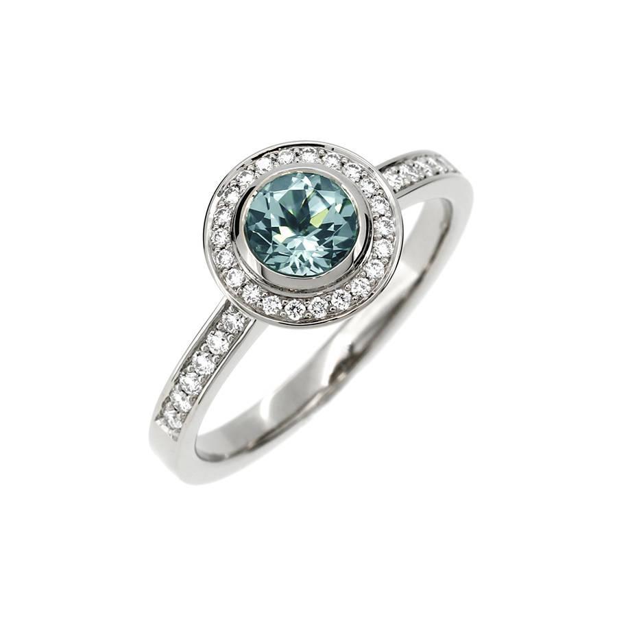 Свадьба - Aquamarine engagement ring, diamond halo ring, halo engagement ring, blue engagement, aquamarine wedding, white gold ring, bezel, vintage