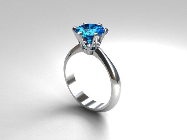 Wedding - Swiss blue topaz solitaire engagement ring, white gold, blue topaz ring, unique, simple, thin engagement, topaz wedding, white gold ring,