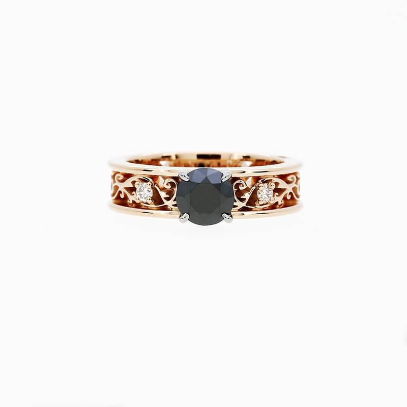Mariage - Royal filigree ring with 1.00ct Black diamond, rose gold, white gold, unique, rose gold engagement, gothic, diamond ring, black wedding