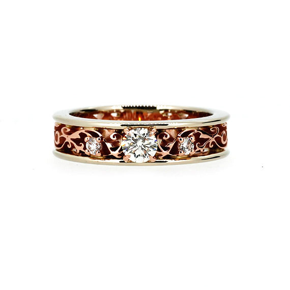 Hochzeit - Royal Filigree ring with 0.31ct Diamonds, two tone engagement ring, unique, rose gold filigree, white gold, vintage, diamond wedding, custom