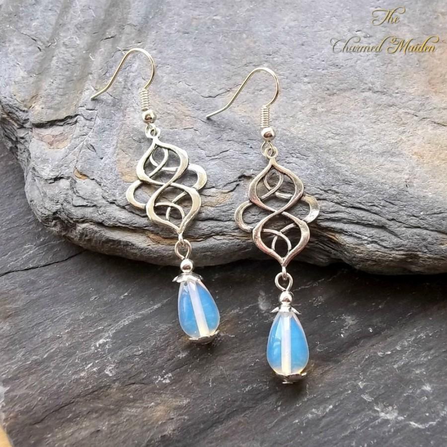 Hochzeit - Celtic Earrings, Opalite Earrings, Brides Earrings, Bridesmaids Wedding Jewellery, Silver Celtic Knot Jewellery, Renaissance, Medieval