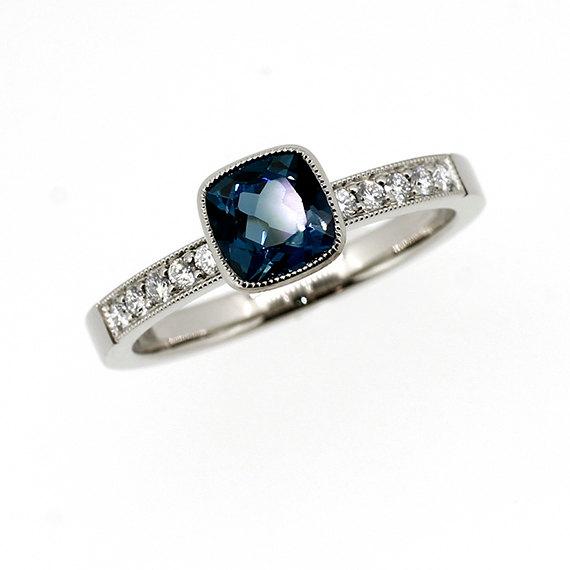 Hochzeit - Cushion cut London blue topaz ring, palladium engagement ring, diamond engagement, teal topaz engagement, bezel, solitaire, unique, milgrain