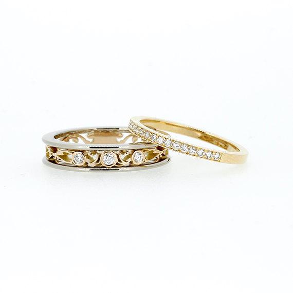 Hochzeit - engagement ring set, Filigree ring, diamond wedding band, filigree engagement, yellow gold, micro pave, diamond eternity, diamond, gold ring