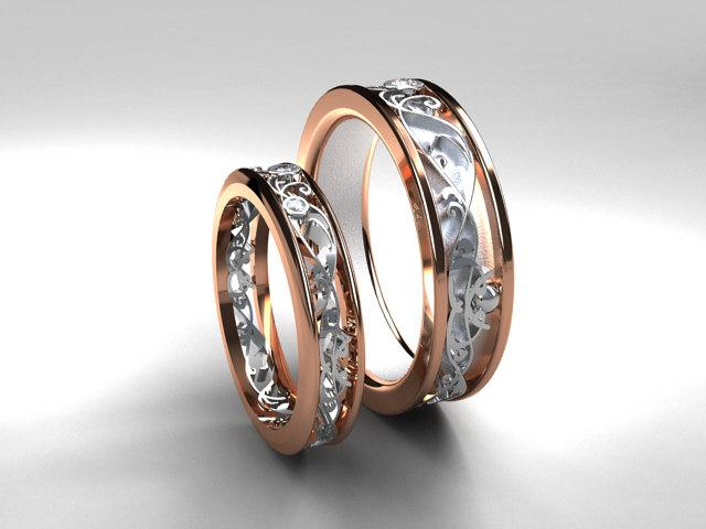 products promise rose wedding grande male ring gold with man two band tungsten mens anniversary engagement bands brushed diamonds