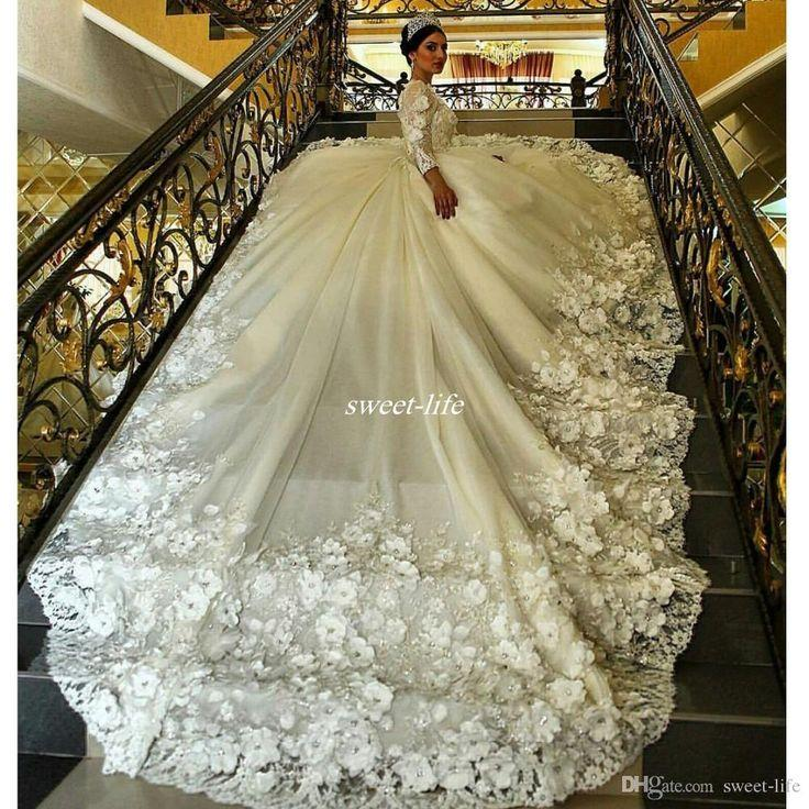 Gorgeous Long Sleeve Ball Gown Wedding Dresses Long Train Sheer Crew Neck 3d Floral Appliques 2016 Plus Size Lace Fall Vintage Bridal Gowns 2790348 Weddbook