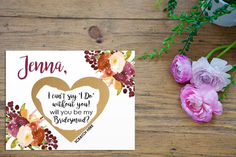 Wedding - Scratch Off Will you be my Bridesmaid? Card - Maid of Honor, Matron of Honor, Bridesmaid Ask Card Personalized with Metallic Envelope