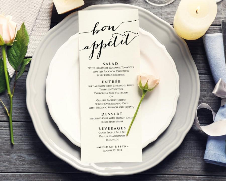 Menu sizes for wedding