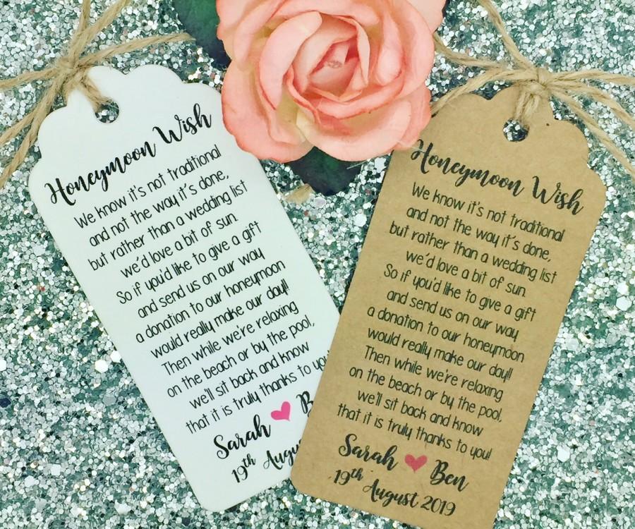 Wedding Gift Poems For Money For Honeymoon: Wedding Honeymoon Fund Money Request Poem Card, Favour