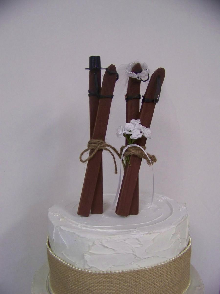 Mariage - Wedding Cake Topper, Ski Cake Topper, Bride and Groom Skis, Wooden Skis Cake Topper-Grooms Cake Topper