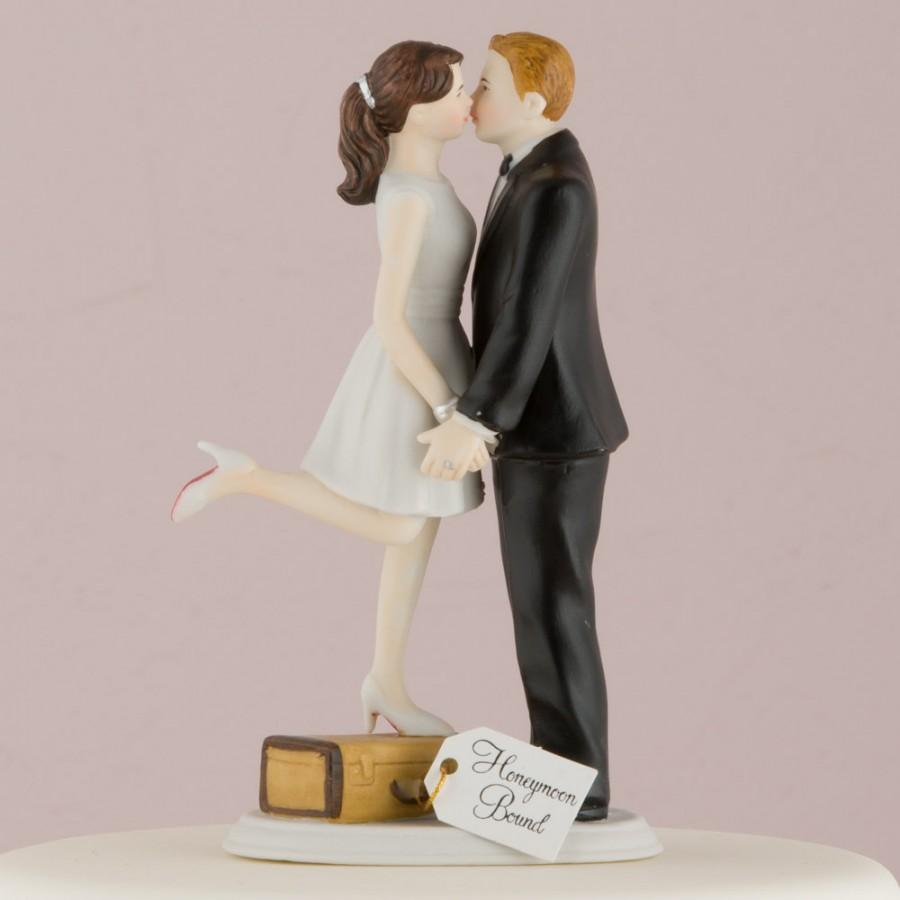 Hochzeit - Personalized Wedding Cake Topper A Kiss And We're Off Honeymoon Bride Groom Couple Travel World Suitcase Customized Custom Hair Destination