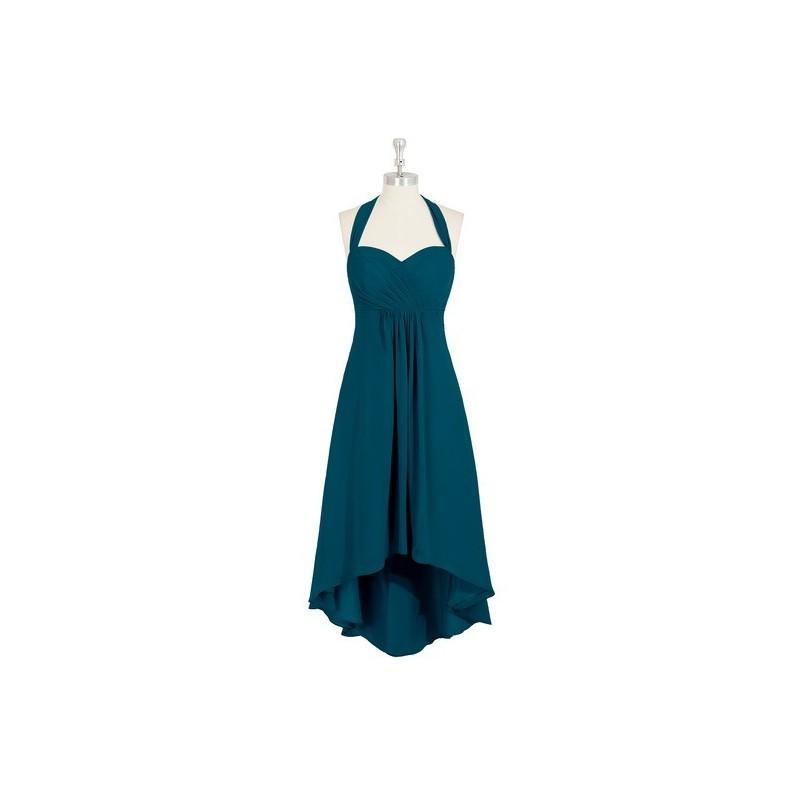 Wedding - Ink_blue Azazie Annabel - Halter Chiffon Asymmetrical Back Zip Dress - Charming Bridesmaids Store