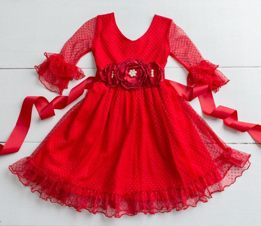 Girls Red Lace Christmas Dress Rustic Flower Girl Dress Red Flower
