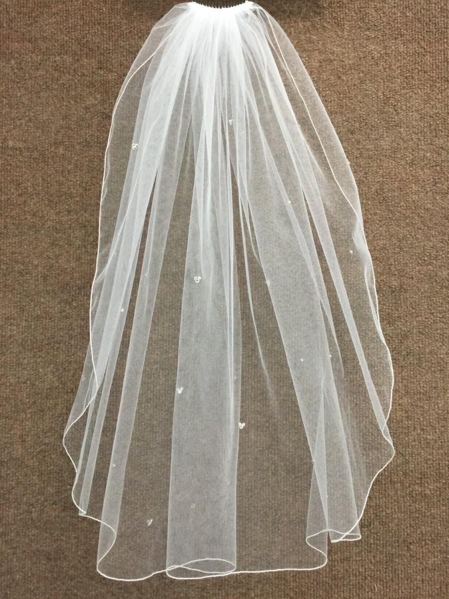 Mariage - Hidden Mickey Wedding Veil - Fingertip Length