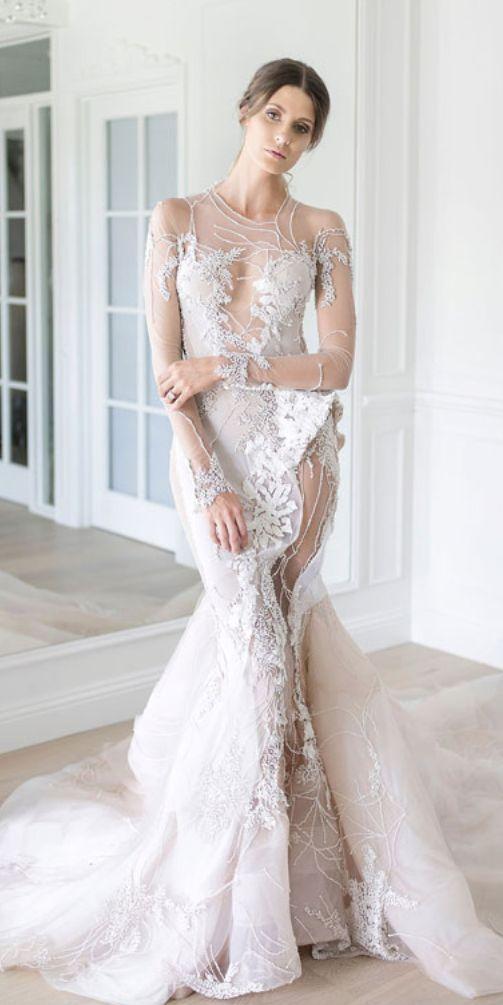 زفاف - Unique Sheer Long-Sleeve Embellished Wedding Dress