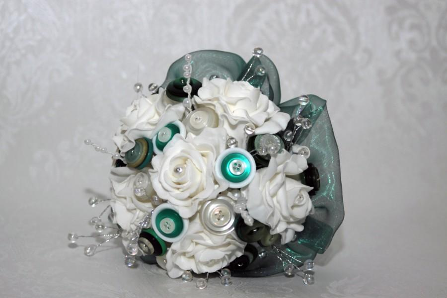 Hochzeit - White foam rose bouquet with green button flowers and a deep green frilled edge