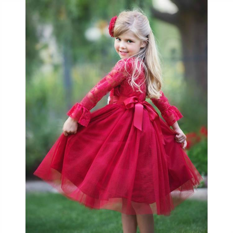 lace flower girl dress red tulle lace flower girl dress flower girl dresses long sleeve dress toddler rustic baby girl christmas dress - Girl Christmas Dresses