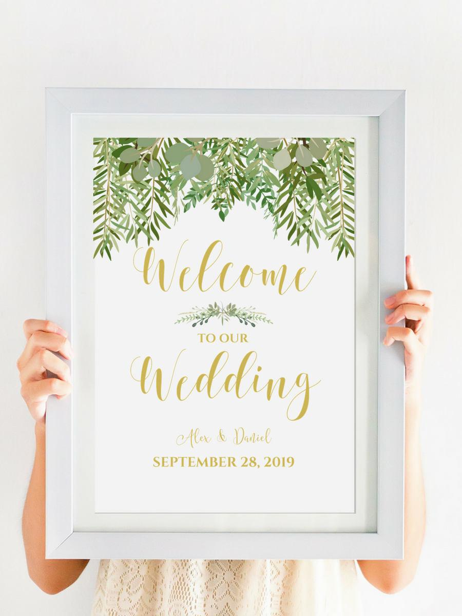 Mariage - WELCOME To Our Wedding Printable, Greenery Wedding Decor, Digital Download, Personalized Wedding Sign, Gold Wedding Calligraphy #IDWS604_34C