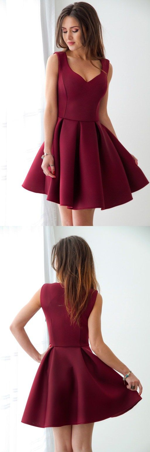 Свадьба - A-Line Scoop Sleeveless Burgundy Homecoming Dress