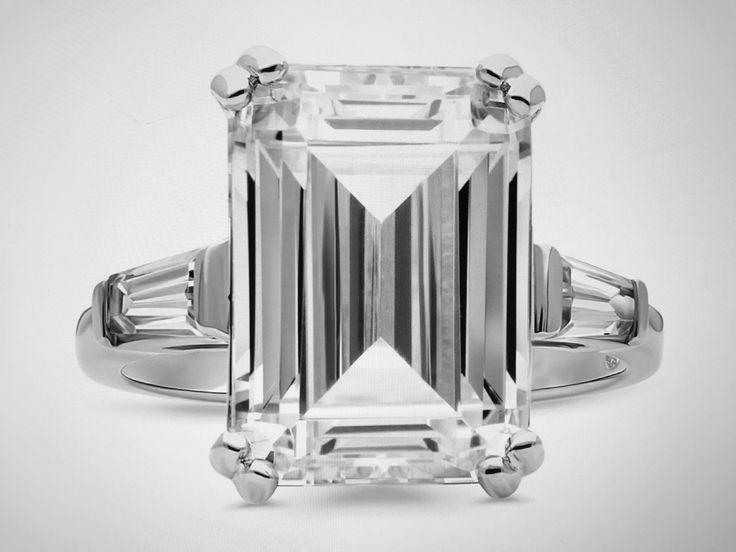 Wedding - A Perfect 8.6CT Emerald Cut Russian Lab Diamond Ring