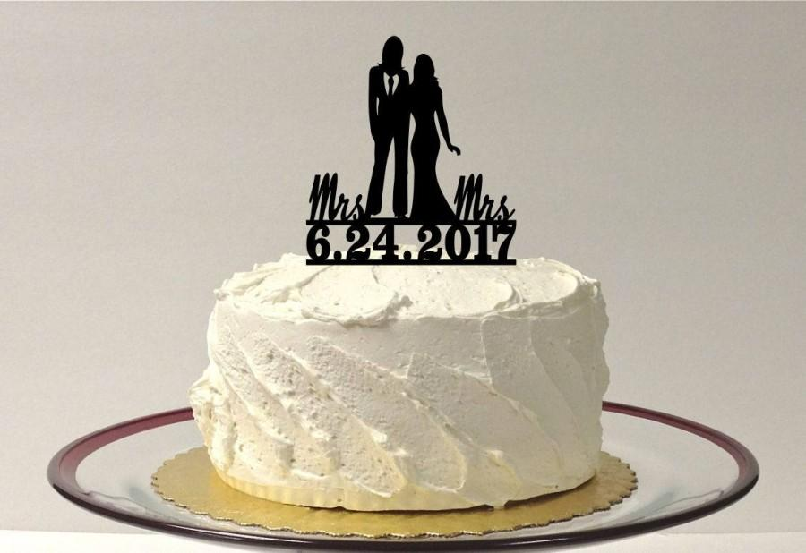 Mariage - MADE In USA, Lesbian Wedding Cake Topper Personalized, Same Sex Cake Topper, Gay Wedding Cake Topper LGBT Mrs and Mrs Wedding Cake Topper