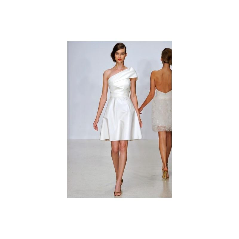 Wedding - Amsale SS13 Dress 16 - One Shoulder Amsale Spring 2013 White A-Line Mini - Rolierosie One Wedding Store
