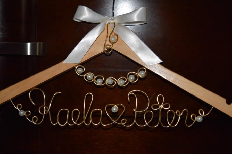 "Düğün - Personalized Bridal Hanger with ""PEARL NECKLACE "" 1 Line of Text, Custom bridal hanger,Wedding hanger,Pearls hanger,Bridal gift"