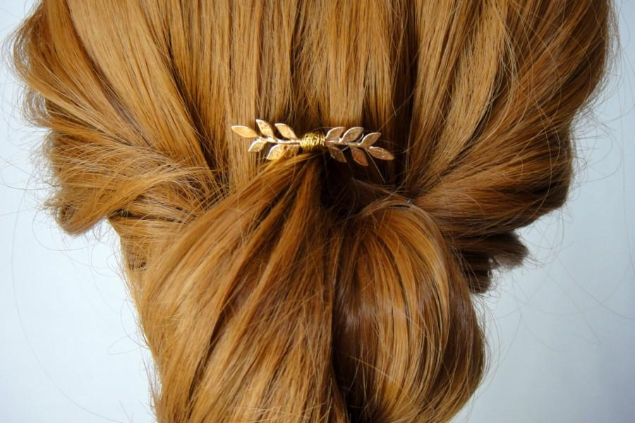 Boda - Gold Small Wedding Hair Pin, Gold Wedding Hair Accessories, Gold Leaf Bridal Hair Pin, Gold Brass Leaf, Autumn, Woodland, ELISE
