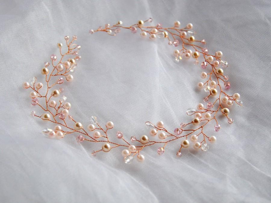 Wedding - Rose Gold Bridal hair vine Wedding hair piece Rose Gold bridal headpiece Rose gold wedding headband Long Rose Gold piece Bridal crown Tiara