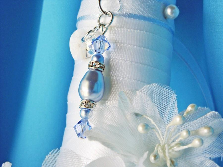 Hochzeit - Something Blue Wedding Bouquet Charm Swarovski Crystal