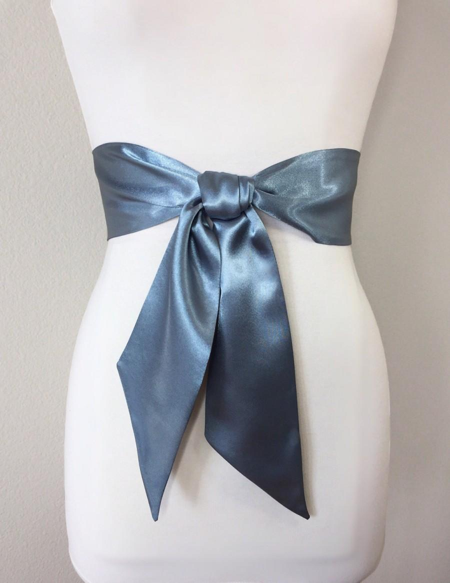 Boda - Steel Gray Satin Sash, Solid Gray Sash Belt, Gray Wedding Dress Sash, Bridesmaid Sash, Flower Girl Sash, Gray Satin Belt, Satin Swank