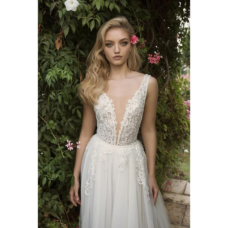 Mariage - Dany Mizrachi Spring/Summer 2018 DM20/18 S/S Appliques Tulle Ivory V-Neck Sleeveless Sweep Train Ball Gown Sweet Wedding Dress - Formal Day Dresses