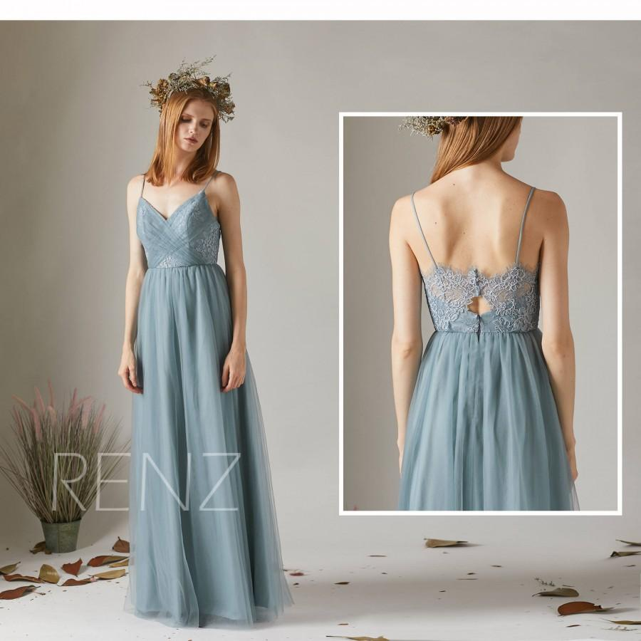 Свадьба - Bridesmaid Dress Dusty Blue Tulle Wedding Dress,Spaghetti Straps Maxi Dress,Ruched Sweetheart Prom Dress,Illusion Lace Back Ball Gown(HS509)