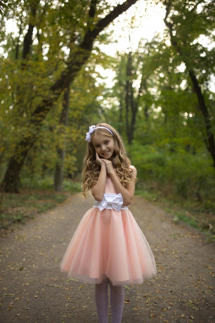 Свадьба - Flower girl dress, Peach dress, Country flower girl, Country wedding, Baby dress, Birthday girl dress