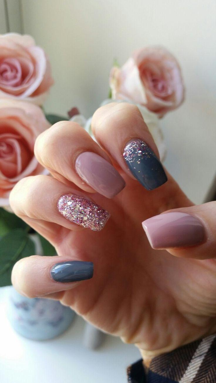 Wedding - Pink And Gray Nails