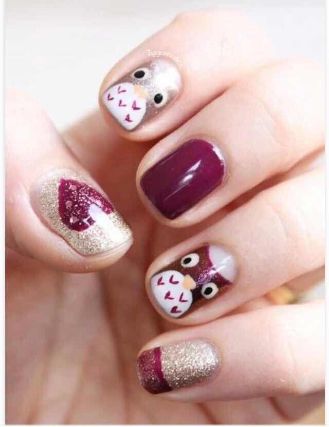 Wedding - Owl Nail Art