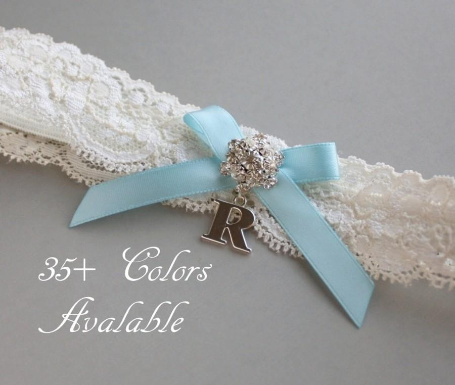 Hochzeit - Personalized Garter, Something Blue Lace Wedding Garter, Lace Garter, Light Blue Bow, Garter with Silver Initial - Ivory White or Off White