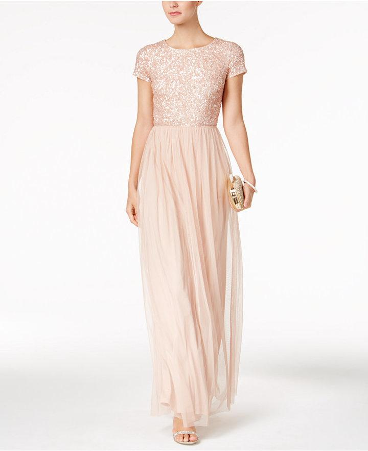 Mariage - Adrianna Papell Sequined Tulle A-Line Gown