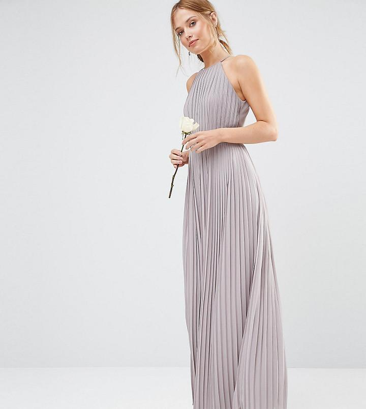 Hochzeit - TFNC WEDDING High Neck Pleated Maxi Dress