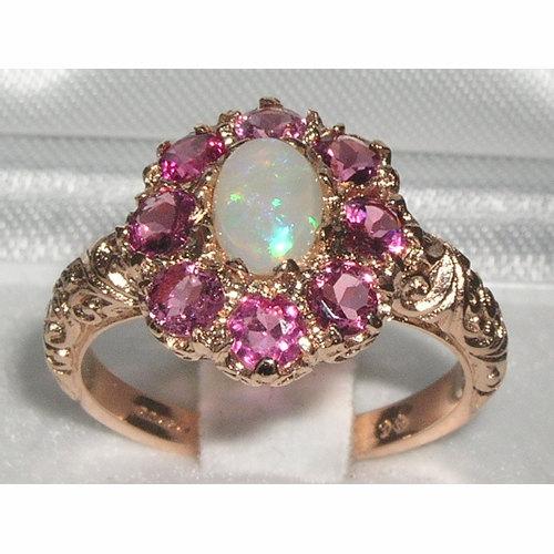 زفاف - 9K English Rose Gold Natural Opal & Pink Tourmaline Cluster Flower Engagement Ring - Made in England -Customize:9K,14K,18K, Gold