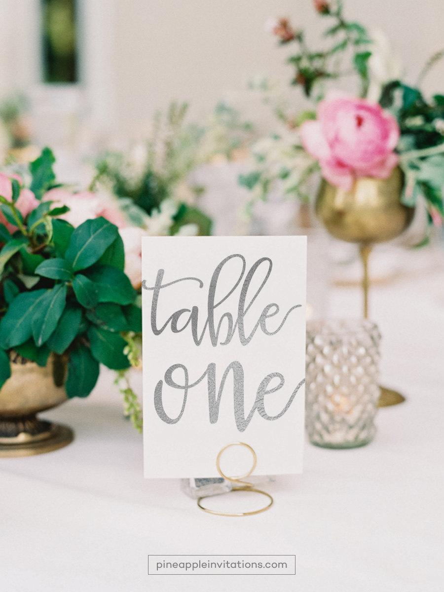 Veronique Silver Foil Table Numbers Number Cards Two Sided Wedding With Tn106s