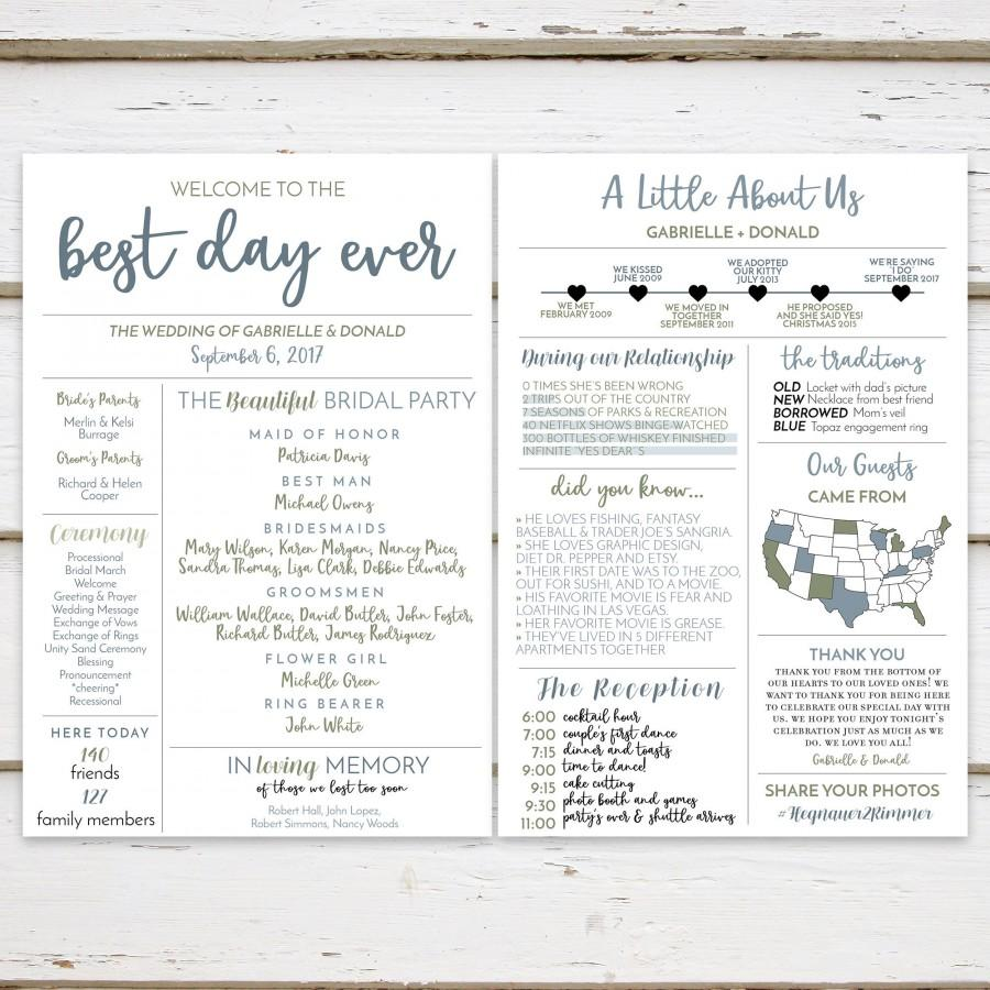 Printable Fun Infographic Wedding Program Unique Modern Entertaining Facts Hashtag MB236
