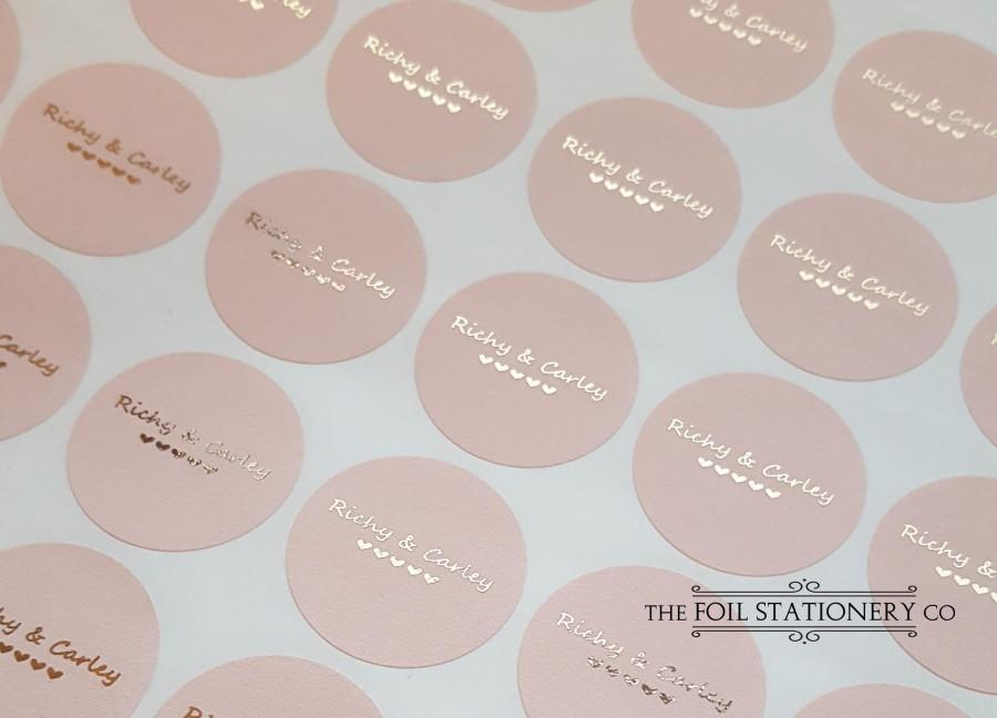 Wedding - Rose Gold Wedding Stickers, Foil Wedding Stickers, Blush Personalised Favour Stickers, Wedding Favor Labels, Custom Wedding Stickers, 25mm