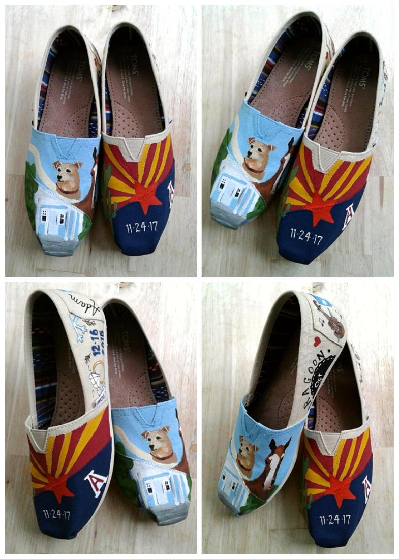 Bride S Love Story Wedding Shoes Unique Hand Painted Custom Toms Flats Gift For